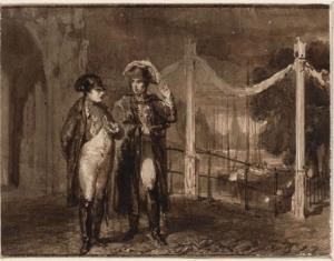 Napoleon wandelt 's avonds door Amsterdam samen met zijn assistent Caulaincourt