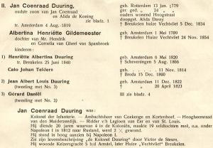 Pagina uit de stamboom van de Duuringfamilie