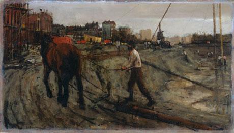De Cremerbuurt in aanbouw op het schilderij 'Bouwterrein ten noorden van de Overtoom' van Breitner, ca. 1900