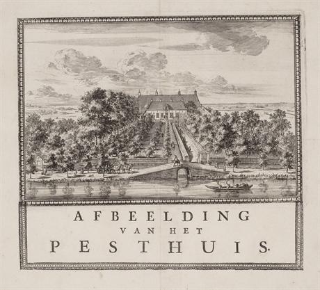 Het Pesthuis, gezien vanaf de Nassaukade en de Pestsloot (latere Bosboom Toussaintstraat), links de Overtoom. Ca. 1675