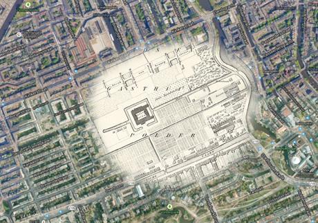 Een oude kaart met de exacte locatie van het pesthuis in een actuele Google mapkaart